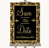 Black & Gold Damask Save The Date Customised Wedding Sign