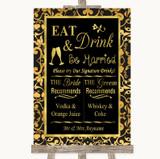 Black & Gold Damask Signature Favourite Drinks Customised Wedding Sign