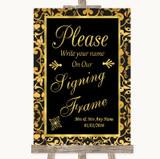 Black & Gold Damask Signing Frame Guestbook Customised Wedding Sign