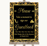 Black & Gold Damask Take A Moment To Sign Our Guest Book Wedding Sign