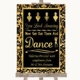 Black & Gold Damask Toiletries Comfort Basket Customised Wedding Sign