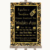 Black & Gold Damask Wedpics App Photos Customised Wedding Sign