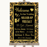 Black & Gold Damask Welcome Order Of The Day Customised Wedding Sign