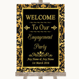 Black & Gold Damask Welcome To Our Engagement Party Customised Wedding Sign