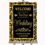 Black & Gold Damask Welcome To Our Wedding Customised Wedding Sign