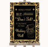 Black & Gold Damask Wishing Well Message Customised Wedding Sign