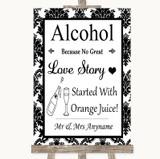 Black & White Damask Alcohol Bar Love Story Customised Wedding Sign