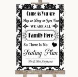 Black & White Damask All Family No Seating Plan Customised Wedding Sign