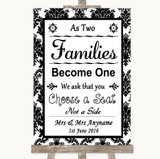 Black & White Damask As Families Become One Seating Plan Wedding Sign