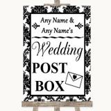 Black & White Damask Card Post Box Customised Wedding Sign