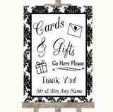 Black & White Damask Cards & Gifts Table Customised Wedding Sign