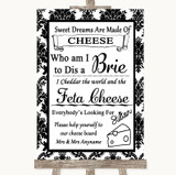 Black & White Damask Cheese Board Song Customised Wedding Sign