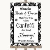 Black & White Damask Confetti Customised Wedding Sign