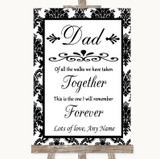 Black & White Damask Dad Walk Down The Aisle Customised Wedding Sign