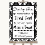 Black & White Damask Dancing Shoes Flip-Flop Tired Feet Wedding Sign