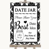 Black & White Damask Date Jar Guestbook Customised Wedding Sign