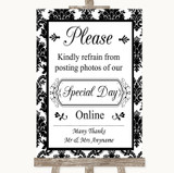 Black & White Damask Don't Post Photos Online Social Media Wedding Sign