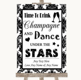 Black & White Damask Drink Champagne Dance Stars Customised Wedding Sign
