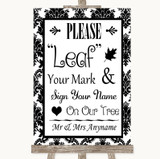 Black & White Damask Fingerprint Tree Instructions Customised Wedding Sign