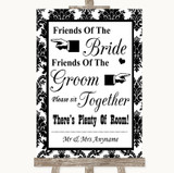 Black & White Damask Friends Of The Bride Groom Seating Wedding Sign