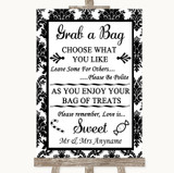 Black & White Damask Grab A Bag Candy Buffet Cart Sweets Wedding Sign
