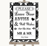 Black & White Damask Guestbook Advice & Wishes Gay Customised Wedding Sign