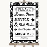 Black & White Damask Guestbook Advice & Wishes Lesbian Customised Wedding Sign