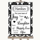 Black & White Damask Hankies And Tissues Customised Wedding Sign