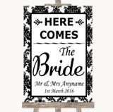 Black & White Damask Here Comes Bride Aisle Sign Customised Wedding Sign