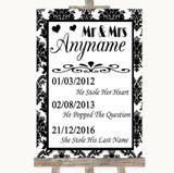 Black & White Damask Important Special Dates Customised Wedding Sign