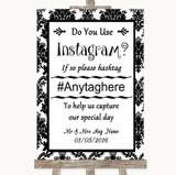 Black & White Damask Instagram Photo Sharing Customised Wedding Sign