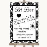Black & White Damask Let Love Sparkle Sparkler Send Off Wedding Sign