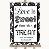 Black & White Damask Love Is Sweet Take A Treat Candy Buffet Wedding Sign