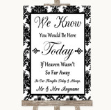 Black & White Damask Loved Ones In Heaven Customised Wedding Sign