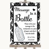 Black & White Damask Message In A Bottle Customised Wedding Sign