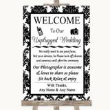 Black & White Damask No Phone Camera Unplugged Customised Wedding Sign