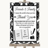 Black & White Damask Photo Guestbook Friends & Family Customised Wedding Sign