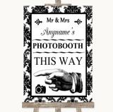 Black & White Damask Photobooth This Way Left Customised Wedding Sign