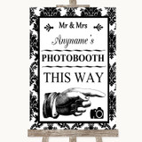 Black & White Damask Photobooth This Way Right Customised Wedding Sign