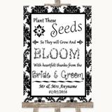 Black & White Damask Plant Seeds Favours Customised Wedding Sign