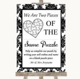 Black & White Damask Puzzle Piece Guest Book Customised Wedding Sign