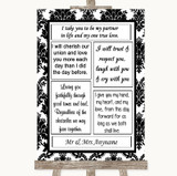 Black & White Damask Romantic Vows Customised Wedding Sign