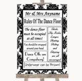 Black & White Damask Rules Of The Dancefloor Customised Wedding Sign