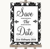 Black & White Damask Save The Date Customised Wedding Sign