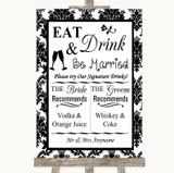 Black & White Damask Signature Favourite Drinks Customised Wedding Sign