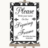 Black & White Damask Signing Frame Guestbook Customised Wedding Sign