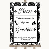 Black & White Damask Take A Moment To Sign Our Guest Book Wedding Sign