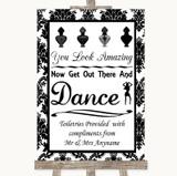 Black & White Damask Toiletries Comfort Basket Customised Wedding Sign