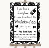 Black & White Damask Wedpics App Photos Customised Wedding Sign
