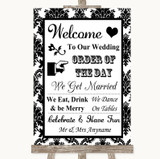 Black & White Damask Welcome Order Of The Day Customised Wedding Sign